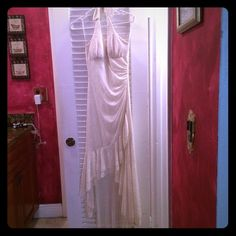 🎀Dress👗gold👰off white💃glitter💎 Only worn once.... It's beautiful, gorgeous!!! Great for the evening. Made of 100% polyester, made in the USA CONTRAST POLYESTER bought in Chicago at debb has some glitter design on it in gold dress is ivory/ off white color... 💟Bundles😉 ✅Discounts😍 💟Offers☺️ ❌PayPal ❌ ❌SMOKE FREE HOME❌ ✅Negotiation by offer button no comments I will not respond. Taboo Dresses