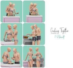 Sims 4 Couple Poses, Sims 4 Stories, Sims 4 Piercings, Walking Poses, Sims 4 Black Hair, Manga Poses, Sims 4 Mm Cc, Couple Cooking, Cooking Together