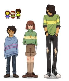 """isakisol: """"Made another one for the sake of outfit reference! Undertale Comic, Undertale Memes, Undertale Drawings, Undertale Cute, Undertale Fanart, Frisk, Fan Art, Art Reference Poses, Anime Characters"""