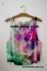 dark shirt, bleach in a spray bottle   (3:7 water:bleach), stars in white paint, galaxy in other acrylic colors and a sponge water