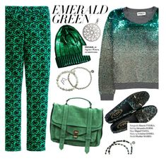 """""""Emerald green"""" by punnky ❤ liked on Polyvore featuring Essentiel, J.Crew, ASOS, Proenza Schouler, Haute Hippie and emeraldgreen"""