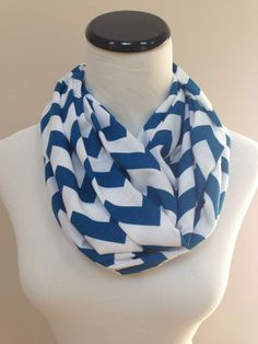 NO. 1 Infinity Scarf Blue Chevron by oneforonecreations on Etsy, $17.00