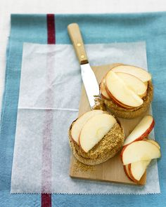 An always popular combination of peanut butter and apple on an English muffin is a good way to start your day.