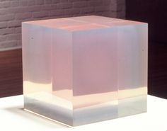Pink Blue Cube, 1967, Cast Polyester Resin, 8 x 8 1/2 x 8 7/8