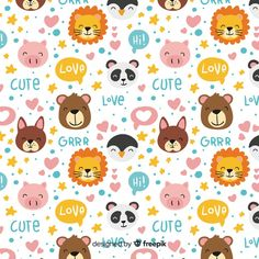 Hand drawn animals and words pattern Free Vector Cute Doodles, Flower Doodles, Vector Pattern, Pattern Art, Doodle Background, Background Designs, Star Doodle, Leaves Doodle, Snoopy Wallpaper