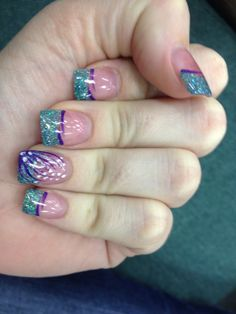 Purple and turquoise solar nails  by Friendly Nails