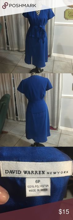 Dress two piece blue Two piece Royal Blue Suit, short sleeve top wraps and ties on side. Small slit in front on side. Fully lined. Dresses Midi