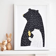 Sweet bear print. Mama & baby bear. Beautiful addition for any kids bedroom or playroom. Decorate your child's room with this adorable mama and baby bear poster. Framed or simply stuck on the wall this poster can make a nursery or bedroom look stylish whilsts being delightlyfully sweet. This mama and baby bear poster will also make a great gift for newborns, birthdays or Christmas. digital reproductionSize: 32 x 45 cm /A3++