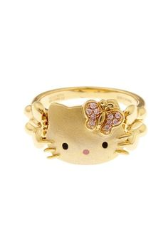 {Hello Kitty Ring} with a crystal butterfly 'bow' :)