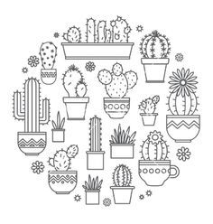 Linear design potted cactus elements. succulent vector - by Leyasw on VectorStock® Más
