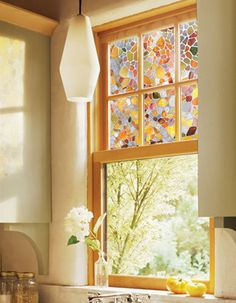 stained glass window, I have these! They're clings you can cut to fit. Got mine at Home Depot. [need this for my bathroom windows] Stained Glass Art, Stained Glass Windows, Stained Glass Window Clings, Grand Menage, Bathroom Windows, Kitchen Windows, Glass Kitchen, Kitchen Sinks, Home Decor Kitchen