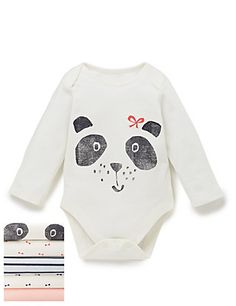 £10.40 5 Pack Girls Panda Print Bodysuits | M&S