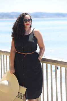 Tanesha Awasthi (formerly known as Girl with Curves) wearing a belted shirtdress in Capitola.