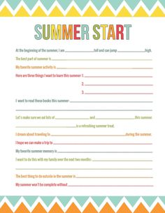 Summer Anticipation Printable - darling printable conversation starter for you and your children to anticipate summer fun! Summer Summer Summertime, Snow In Summer, Happy Summer, Summer Kids, Summer 2014, Summer Activities For Kids, Learning Activities, Interactive Activities, Summer School