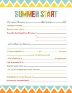 Summer AnticipationPrintable - A wonderful conversation starter to prep for the best childhood summer yet! | ParsCaeli.com