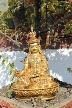 Golden Padmasambhava Guru (Guru Rinpoche) Statue Made in Nepal.