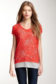 Vince Camuto  Perforated Paisley Double Layer Knit Tee