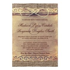 Rustic Country Vintage Paper Burlap Wedding Invite #rustic #country #wedding http://www.zazzle.com/rustic_country_vintage_paper_burlap_wedding_invite-161706826324084482?rf=238133515809110851&tc=PinterestMsPlnr