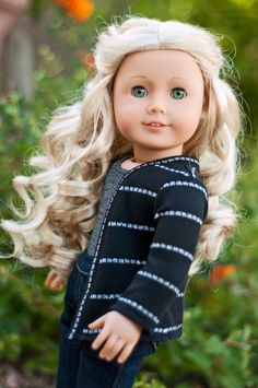 Doll Clothes: Black and Silver Cardigan for an American Girl Doll or Other 18 Inch Dolls.