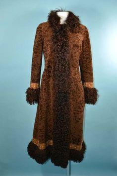 Vintage 60s/70s Boho Shearling + Mongolian Lamb Fur Midi Coat, Tapestry Trim, Penny Lane Bohemian Hippie Long Winter Coat XS