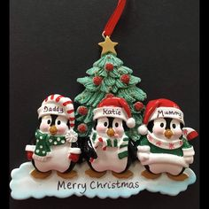 Gorgeous Ceramic Family Of 6 Penguin Christmas tree Dec Ready to Personalise