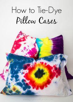 It's a Tie-Dye Sleepover Party! {Tie-Dye Pillow Cases} - Plain Vanilla Mom #tiedyeyoursummer /ilovetocreate/