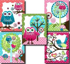 Set+of+5+Hippie+Chick+Owls+and+Birdies+Girls+by+ToadAndLily,+$25.00