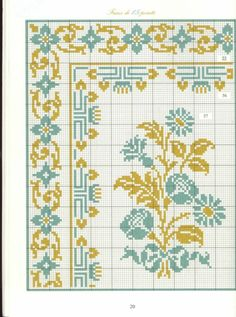 Borders in cross stitch free charts - lots like this Cross Stitch Boarders, Cross Stitch Samplers, Cross Stitch Flowers, Cross Stitch Charts, Cross Stitch Designs, Cross Stitching, Cross Stitch Patterns, Learn Embroidery, Cross Stitch Embroidery
