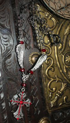 Gothic, necklace, vintage inspired, red, crystals, cross, wings, black by WilliamDaltonDesign on Etsy https://www.etsy.com/listing/501901943/gothic-necklace-vintage-inspired-red