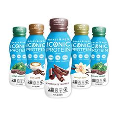 Iconic Protein Drinks, Sample Pack (5 Flavors) | Low Carb Protein Shakes | Grass Fed, Lactose-Free, Gluten-Free | Low... Tumeric And Ginger, Low Carb Protein Shakes, Best Vegan Protein, Lactose Free, Gluten Free, Low Calorie Snacks, Protein Supplements, Chocolate Truffles, Drinks
