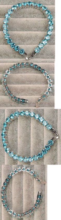 Gemstone 164315: Rare ~ 84 Ct.T.W. Sparkling Blue Paraiba Apatite Round Cut Tennis Bracelet 7 -> BUY IT NOW ONLY: $62 on eBay!
