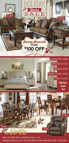 Holiday Home Sale GOING ON NOW!!!! Aladdin Home Store Offering a wide range of furniture for all budgets. Stop by the store & explore our great selection of furniture, electronics, appliances, mattresses & more!  www.AladdinHomeStore.com Please tell our friends at Aladdin that  www.WeAreMarbleFalls.com sent you!  Aladdin Home Store - 2901 Hwy 281 - Marble Falls