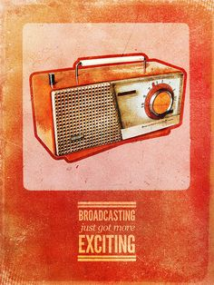 """Broadcasting is an 9""""x12"""" poster done for Signalnoise's Retro Poster Competition. We chose to go back in time and advertise for what must have been the cutting edge radio station at that point."""