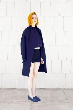 Jasmin Shokrian Spring 2014 (designer) coat/cover up + shorts + top + shoes (moccasins) : (androgynous)