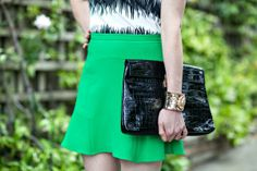 Black, white & green - A great color combination for Summer Skirt Fashion, Color Combinations, Skater Skirt, San Francisco, Black White, Street Style, Green, Skirts, Summer