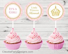 Charming and elegant Royal princess Cupcake Toppers - Sets of 12, 24, 36 From $14  #royal#princess#party#decor#ideas#cake#cupcakes#custom#tags#pink#gold#crown#1stbirthday#babyshower#girl#It'sAGirl#elegant#charming#ideas