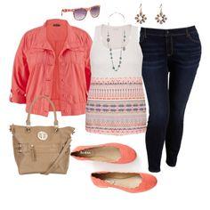 Coral Crop Jacket- Plus Size Outfit