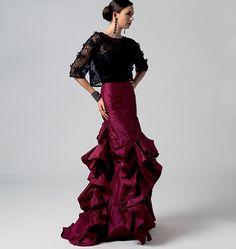Vogue Flamenco Tango Skirt sz 6 to 22 Misses Sewing Pattern 8858 8 10 12 16 18 Vogue Patterns, Dress Patterns, Costume Flamenco, Flamenco Dresses, Flamenco Dancers, Maxi Dresses, Flamenco Skirt Pattern, Daily Fashion, Everyday Fashion