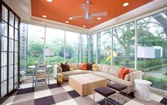 Pop Of Color Brightly colored ceilings can add a pop of color without overwhelming the atmosphere.