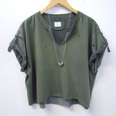 UPCYCLED Bleached Top. Distressed Vintage T-Shirt. Army Green Crop... ($48) ❤ liked on Polyvore featuring tops, t-shirts, distressed shirt, vintage crop top, vintage t shirts, olive green shirt and bleach t shirt