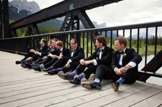 Love the colored socks! We have already gotten the groomsmen some fun purple socks for the wedding and now I think we will have to take a photo like this...cute!