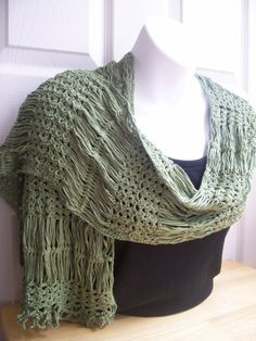 Hairpin Lace and Shell Scarf