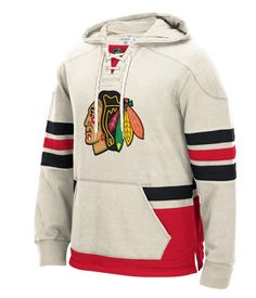 Chicago Blackhawks Cream CCM Long Sleeve Jersey Crew