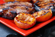 Grilled pork chops with balsamic grilled peaches by Eve Fox, Garden of Eating blog