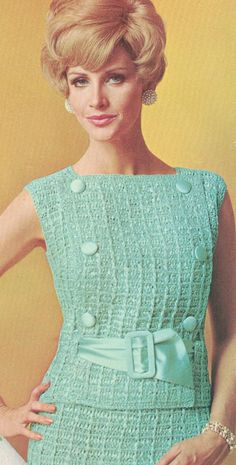 Vintage 2 Piece Dress with Half Belt Crochet Pattern PDF Vintage Crochet Patterns, Vintage Knitting, Vintage Dresses 1960s, Vintage Outfits, Crochet Blouse, Knit Crochet, 1960s Fashion, Vintage Fashion, Moda Retro