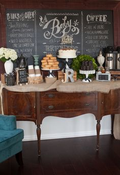 Coffee and Cravings Baby Shower- we LOVE the idea of serving mom-to-be's cravings at the shower!