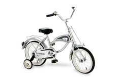 """Morgan Cycle 14"""" Cruiser Bicycle with Training Wheels SILVER 41116"""
