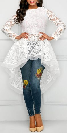 The post High Low Long Sleeve Round Neck Lace Blouse. 2019 appeared first on Lace Diy. Kurta Designs, Kurti Designs Party Wear, Blouse Designs, Trendy Tops For Women, Blouses For Women, African Women, African Fashion, Party Kleidung, Mode Hijab