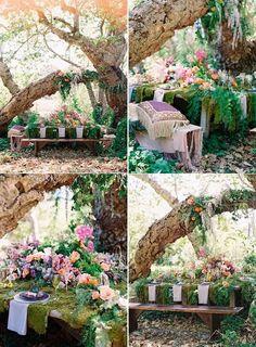 woodland purple flowers wedding table setting ideas