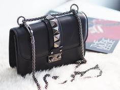 Valentino Lock Noir from my what I got for Christmas blog post   #valentinolocknoir #valentino #handbag #rockstud #noir  http://mydebeauvoirdiaries.com/what-i-got-for-christmas-2016/